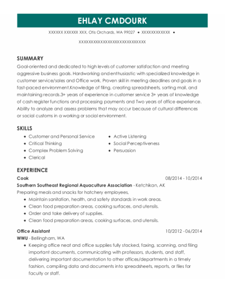 Cook resume sample Washington