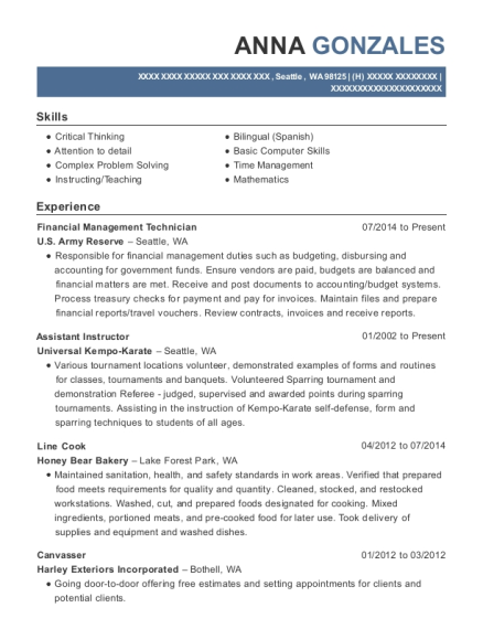 Financial Management Technician resume sample Washington