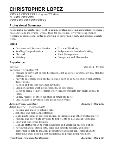 Barista resume example Washington