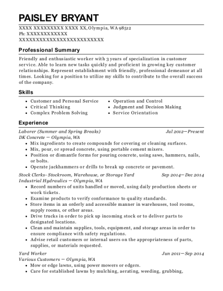 Laborer resume sample Washington