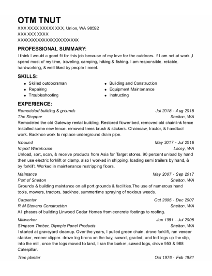 Inbound resume format Washington