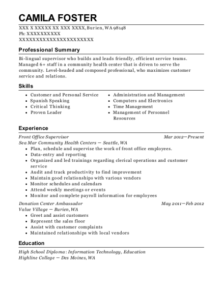 Front Office Supervisor resume example Washington