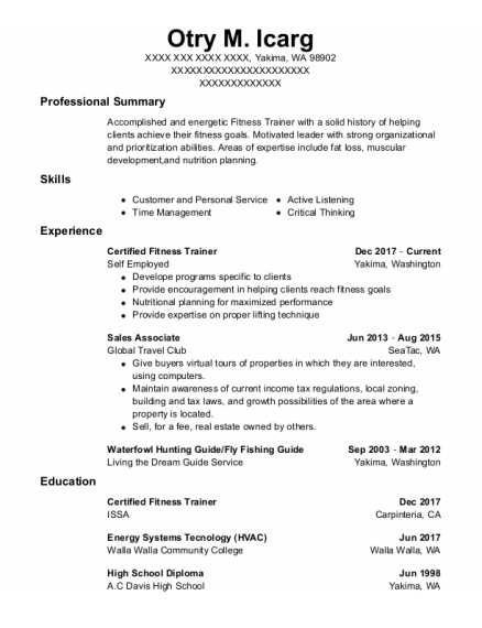 Sales Associate resume example Washington