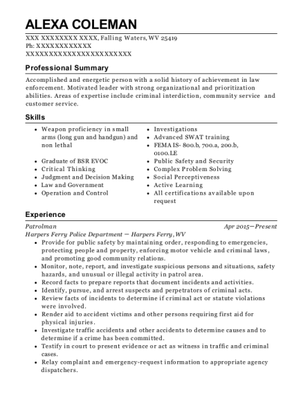 Patrolman resume format West Virginia