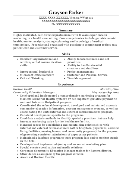 Community Education Manager resume sample West Virginia