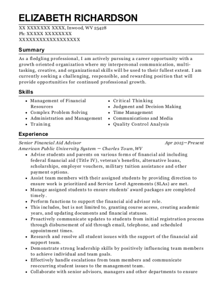 Senior Financial Aid Advisor resume template West Virginia