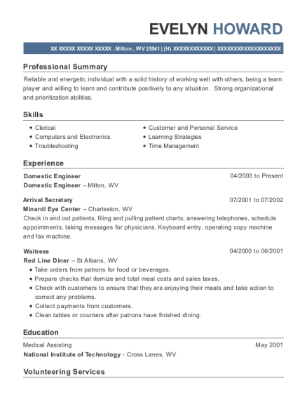 Domestic Engineer resume format West Virginia