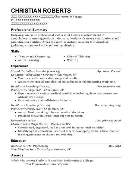 Mental HealthCare Provider resume template West Virginia