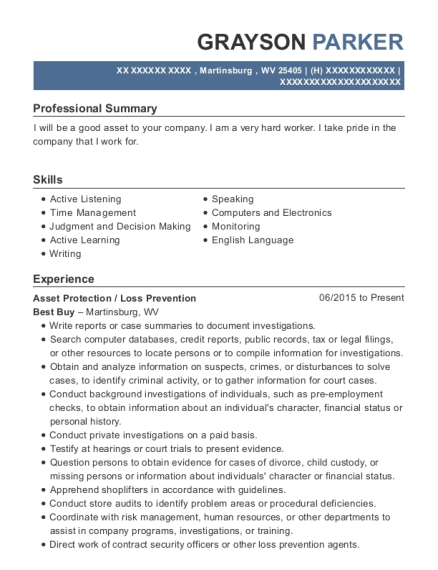 Asset Protection resume template West Virginia
