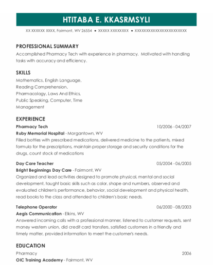 Pharmacy Tech resume example West Virginia