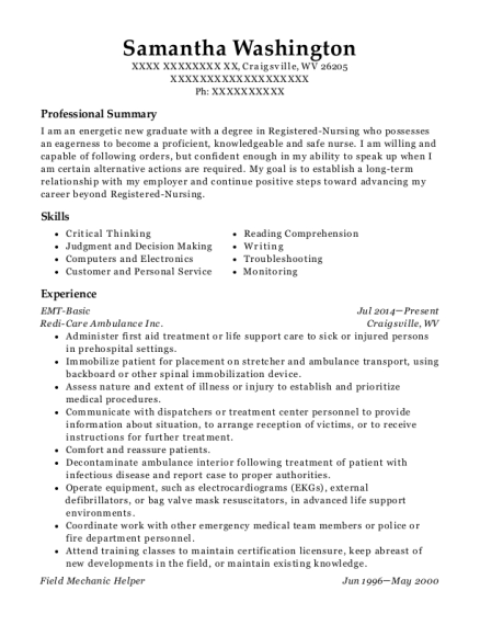 EMT Basic resume format West Virginia