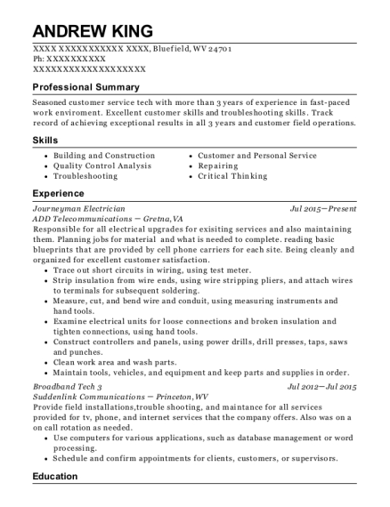 Journeyman Electrician resume sample West Virginia