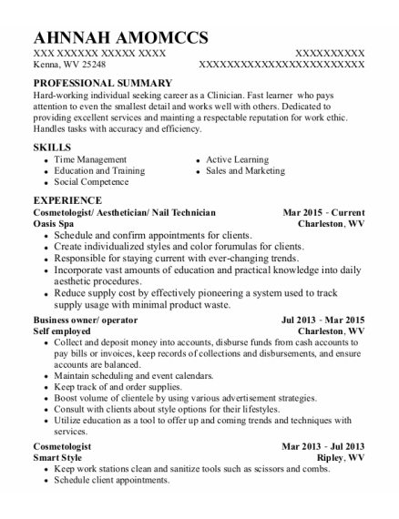 Cosmetologist resume format West Virginia