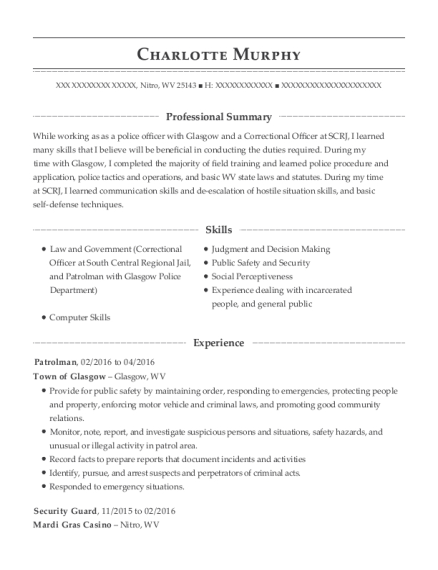 Patrolman resume template West Virginia