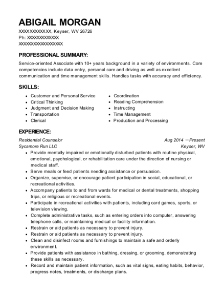 Residential Counselor resume template West Virginia