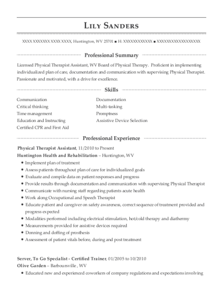 Physical Therapist Assistant resume template West Virginia