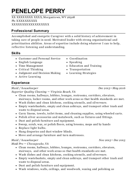 Maid resume format West Virginia