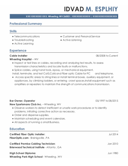 Cable Installer resume example West Virginia