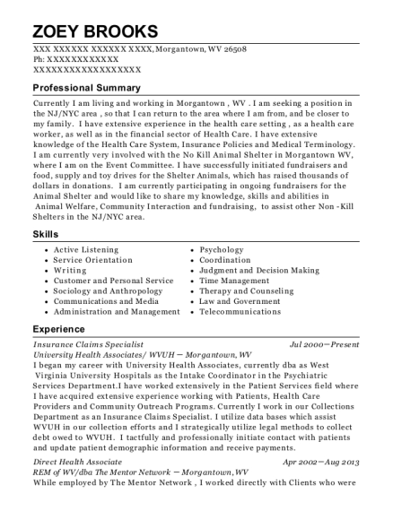 Insurance Claims Specialist resume sample West Virginia
