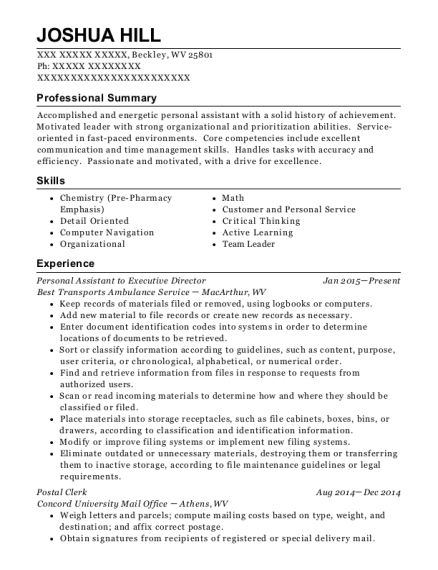 Personal Assistant to Executive Director resume template West Virginia