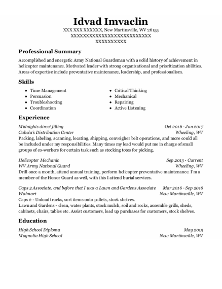 Helicopter Mechanic resume example West Virginia