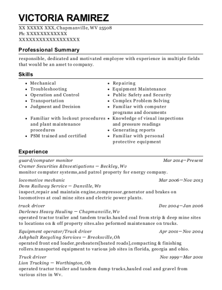 guard resume template West Virginia