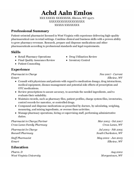 Pharmacist In Charge resume template West Virginia