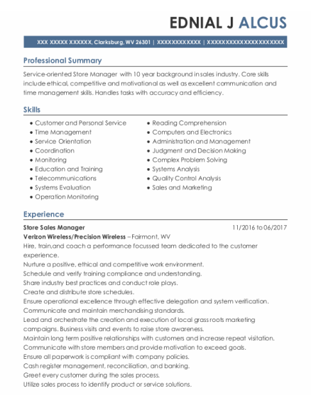 Store Sales Manager resume format West Virginia