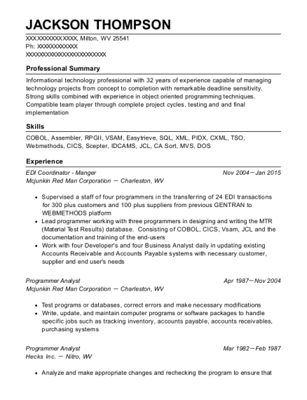EDI Coordinator Manger resume format West Virginia