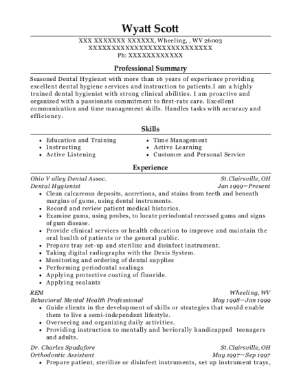 Dental Hygienist resume example West Virginia