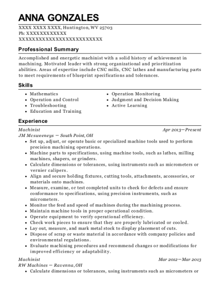 Machinist resume template West Virginia