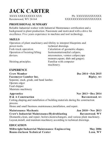 Crew Member resume sample West Virginia
