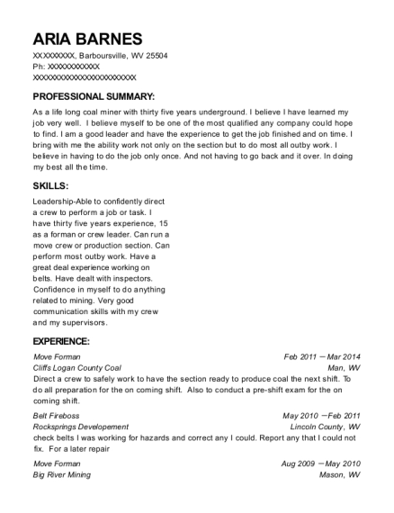 Move Forman resume sample West Virginia