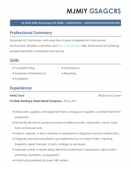 Hvac Tech resume format West Virginia