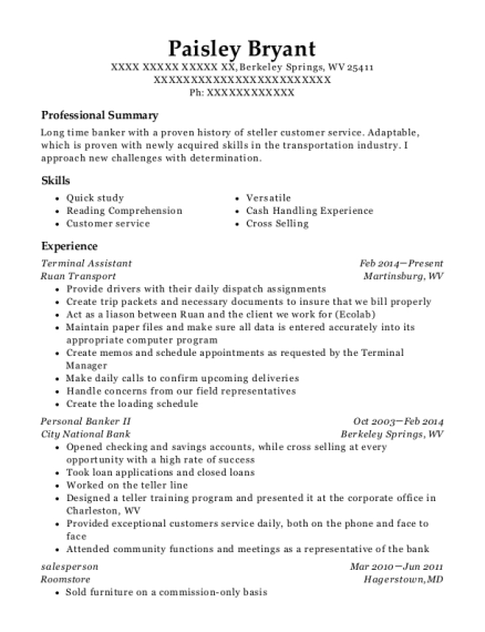 Terminal Assistant resume sample West Virginia