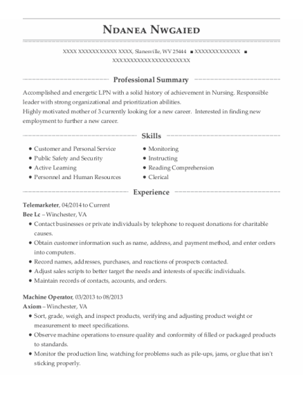 Telemarketer resume sample West Virginia