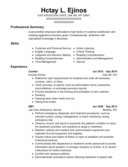 Cashier resume format West Virginia