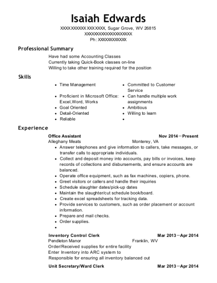 Office Assistant resume template West Virginia