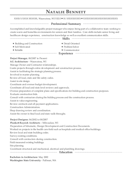 Project Manager resume template Wisconsin