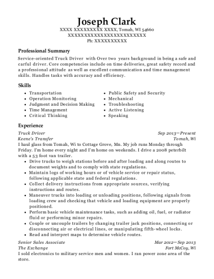 Truck Driver resume example Wisconsin