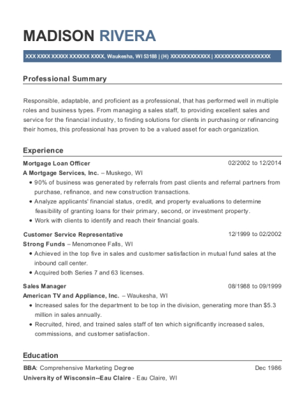 Mortgage Loan Officer resume format Wisconsin