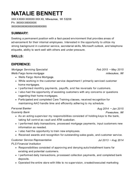 Mortgage Servicing Specialist resume format Wisconsin