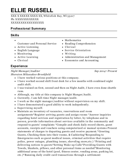 Night Manager resume example Wisconsin