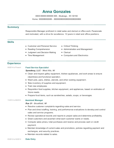 Food Service Specialist resume template Wisconsin