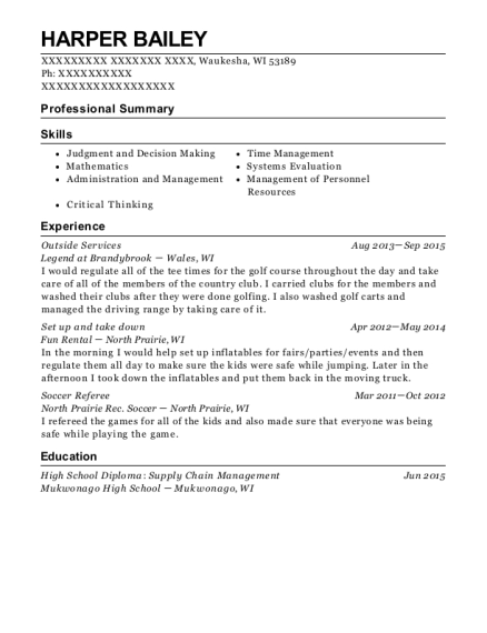 Outside Services resume template Wisconsin