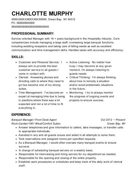 Banquet Manager resume template Wisconsin