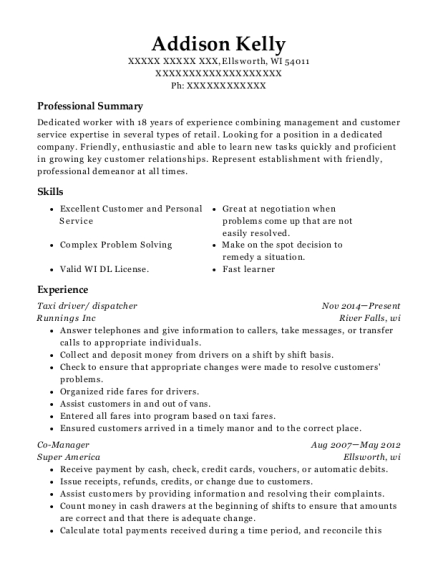 Taxi driver resume sample Wisconsin