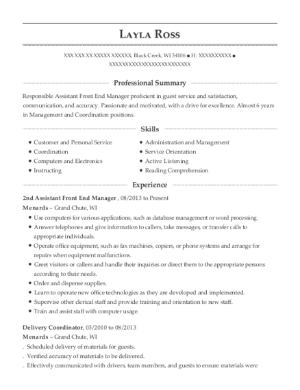 2nd Assistant Front End Manager resume template Wisconsin