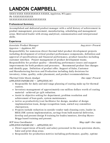 Associate Product Manager resume sample Wisconsin