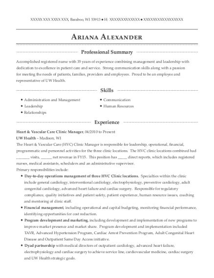 Heart & Vascular Care Clinic Manager resume format Wisconsin